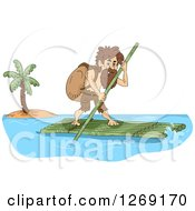Clipart Of A Castaway Man On A Bamboo Raft Royalty Free Vector Illustration