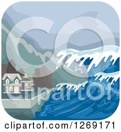 Clipart Of A Tsunami Wave Approaching Coastal Homes Royalty Free Vector Illustration by BNP Design Studio