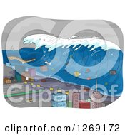 Clipart Of A Tsunami Wave Going Through A City Royalty Free Vector Illustration