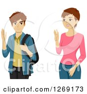 Clipart Of A Caucasian High School Boy Waving To His Mom Royalty Free Vector Illustration