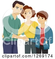 Clipart Of A Caucasian Mother Introducing Her Boyfriend To Her Happy Teenage Son Royalty Free Vector Illustration