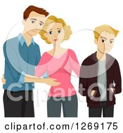 Clipart Of A Caucasian Mother Introducing Her Boyfriend To Her Rude Unhappy Teenage Son Royalty Free Vector Illustration