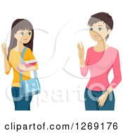 Clipart Of A Teenage Caucasian Girl And Mother Waving Goodbye Royalty Free Vector Illustration