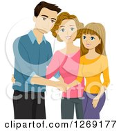 Clipart Of A Caucasian Mother Introducing Her Boyfriend To Her Happy Teenage Daughter Royalty Free Vector Illustration