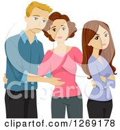 Clipart Of A Caucasian Mother Introducing Her Boyfriend To Her Rude Unhappy Teenage Daughter Royalty Free Vector Illustration