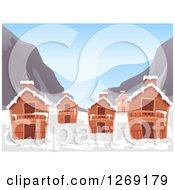 Clipart Of A Mountainous Ski Village With Snow Royalty Free Vector Illustration