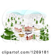 Clipart Of A Mountainous Ski Village Royalty Free Vector Illustration