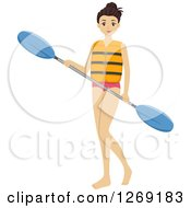 Clipart Of A Young Brunette Caucasian Woman Holding A Kayak Paddle Royalty Free Vector Illustration