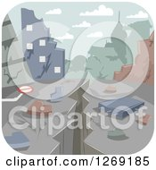 Clipart Of A Crack From An Earthquake Through A Devastated City Royalty Free Vector Illustration