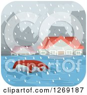 Clipart Of A Car And Homes In A Flooded City Royalty Free Vector Illustration by BNP Design Studio