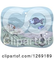Clipart Of A Polluted Sea Floor With Fish Royalty Free Vector Illustration