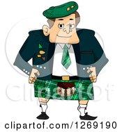 Scottish Man In A Green Kilt