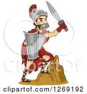 Clipart Of A Tough Roman Soldier Warrior Holding Up A Sword And Stepping On A Rock Royalty Free Vector Illustration