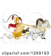 Clipart Of A Roman Man Driving A Horse Drawn Chariot Cart Royalty Free Vector Illustration by BNP Design Studio