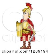 Clipart Of A Skinny Roman Soldier Man Royalty Free Vector Illustration by BNP Design Studio