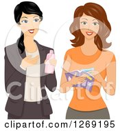 Clipart Of A Sales Woman Direct Selling Her Beauty Product To A Lady Royalty Free Vector Illustration by BNP Design Studio