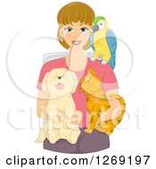 Clipart Of A Blond Caucasian Woman Sitting With A Parrot Dog And Cat Royalty Free Vector Illustration