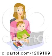 Clipart Of A Blond Caucasian Mom Working On A Computer Or Doing An Online Chat With A Baby In Her Lap Royalty Free Vector Illustration