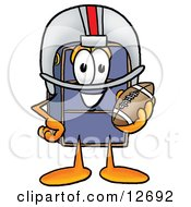 Suitcase Cartoon Character In A Helmet Holding A Football