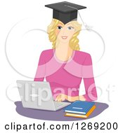 Clipart Of A Blond Caucasian Woman Wearing A Graduate Cap And Working On A Laptop Computer Royalty Free Vector Illustration by BNP Design Studio