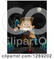 Clipart Of A Scared Man Running On A Dark Night Royalty Free Vector Illustration