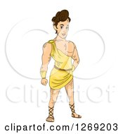 Clipart Of A Young Strong Greek God Royalty Free Vector Illustration