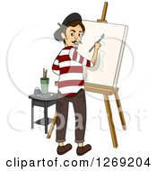 Male French Painter Working On A Canvas And Looking Back