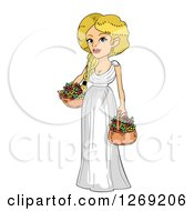 Clipart Of A Blond Roman Woman With Flower Baskets Royalty Free Vector Illustration