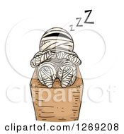 Clipart Of A Mummy Sleeping Royalty Free Vector Illustration
