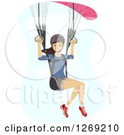 Clipart Of A Happy Young Woman Paragliding In A Blue Sky Royalty Free Vector Illustration