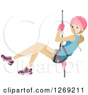 Clipart Of A Young Blond Caucasian Woman Rapelling Down Royalty Free Vector Illustration