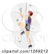 Clipart Of A Caucasian Woman Rock Climbing Royalty Free Vector Illustration