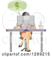 Clipart Of A Woman Making Money Online While Working At A Desk Royalty Free Vector Illustration