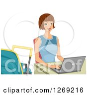 Happy Brunette Caucasian Woman Working On A Laptop With A Baby Carriage At Her Side
