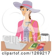 Clipart Of A Brunette Caucasian Woman Making Purchases Or Travel Booking Online With A Laptop Royalty Free Vector Illustration