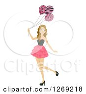 Clipart Of A Caucasian Teenage Girl With Safari Print Balloons Royalty Free Vector Illustration
