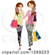 Clipart Of A Brunette Caucasian Teen Girl Shopping With Her Mother Royalty Free Vector Illustration