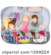 Clipart Of Women At A Clothes Swap Party Royalty Free Vector Illustration