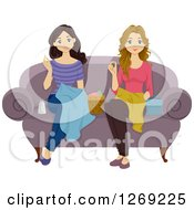 Clipart Of Two Young Women Sewing On A Couch Royalty Free Vector Illustration
