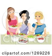 Three Happy Young Women Eating And Making Salads