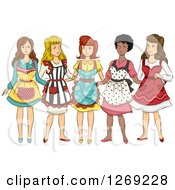 Group Of Women In Retro Aprons