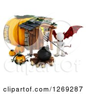 Clipart Of A 3d White Demon Man With A Cauldron At A Halloween Pumpkin Cottage Royalty Free Illustration by KJ Pargeter
