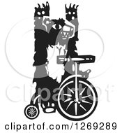Black And White Woodcut Circus Bear Riding A Unicycle With No Hands