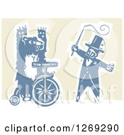 Woodcut Circus Ringmaster Holding A Whip By A Bear Riding A Unicycle