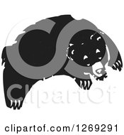 Clipart Of A Black And White Woodcut Leaping Bear Royalty Free Vector Illustration