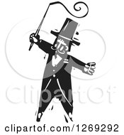 Clipart Of A Black And White Woodcut Circus Ringmaster With A Whip Royalty Free Vector Illustration