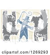 Woodcut Circus Ringmaster Holding A Whip While Bears Walk Upright And Do Handstands
