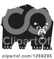Clipart Of A Black And White Woodcut Bear Royalty Free Vector Illustration