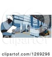 Clipart Of Silhouetted Warehouse Workers Taking Inventory And Using A Forklift Royalty Free Vector Illustration