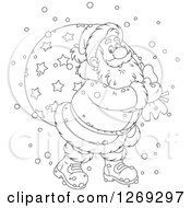 Clipart Of A Cartoon Happy Black And White Santa Claus Carrying Sack In The Snow Royalty Free Vector Illustration